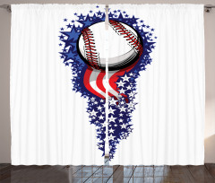 Yıldızlı Çizgili Desen Fon Perde Beyzbol Topu