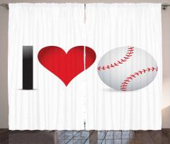 Beyzbolu Seviyorum Fon Perde Kırmızı Şık Tasarım