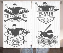 Beyzbol Oyuncusu Fon Perde Nostaljik Şık Tasarım