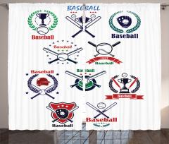 Beyzbol Sopası Desenli Fon Perde Spor Dekoratif