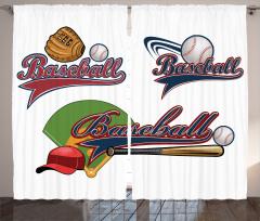 Nostaljik Beyzbol Fon Perde Dekoratif Şık Tasarım