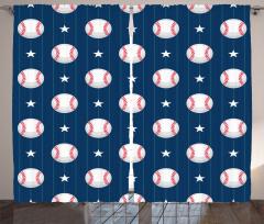 Yıldızlı Beyzbol Topu Fon Perde Beyaz Lacivert
