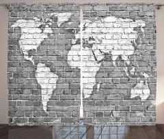 Klasik Dünya Haritası Fon Perde Antik