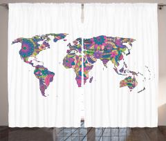 Rengarenk Harita Fon Perde Mor Pembe Çiçek