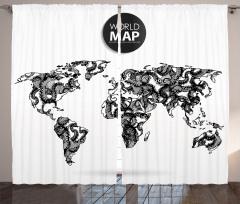 Ahtapot Desenli Fon Perde Dünya Haritası Siyah