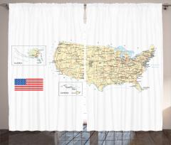 ABD Haritası Temalı Fon Perde Seyahat Severlere