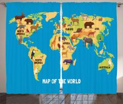 Hayvan Haritası Temalı Fon Perde Çocuklar İçin