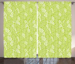 Bahar Temalı Fon Perde Yaprak Desenli Yeşil Şık