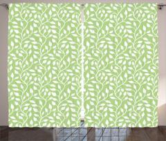 Yeşil Yaprak Desenli Fon Perde Çeyizlik Trend