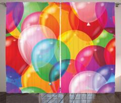 İçiçe Geçmiş Fon Perde Rengarenk Balon Desenli