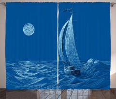 Ay Dalga ve Yelkenli Fon Perde Denizcilik