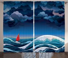 Fırtına ve Yelkenli Desenli Fon Perde Mavi Beyaz