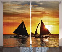 Yelkenli ve Gün Batımı Temalı Fon Perde Sanatsal