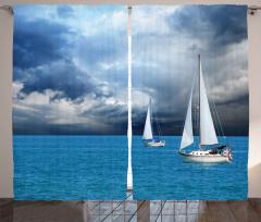 Fırtına Bulutu ve Tekne Fon Perde Deniz