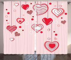 Açık Pembe Fonlu Kalp Fon Perde Romantik