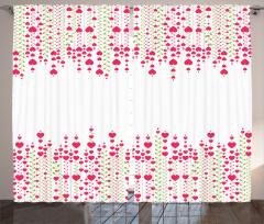 Pembe Kalp Desenli Fon Perde Romantik Çeyizlik