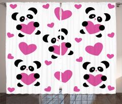 Aşk ve Panda Desenli Fon Perde Romantik Tasarım