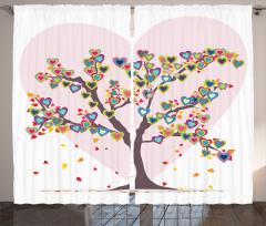 Rengarenk Kalpli Ağaç Desenli Fon Perde Romantik