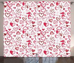 Pembe Kalp ve Ok Desenli Fon Perde Şık Çeyizlik