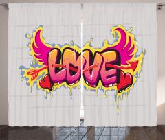 Retro Kanatlı Aşk Fon Perde Şık Romantik