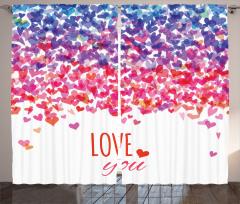 Seni Seviyorum Desenli Fon Perde Rengarenk Kalpli