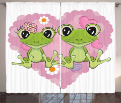 Kurbağa Çifti ve Aşk Fon Perde Romantik