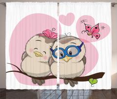 Kuş Çifti ve Kelebek Desenli Fon Perde Romantik