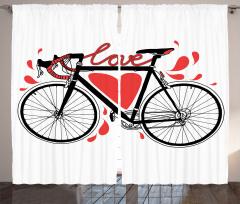 Aşk ve Bisiklet Desenli Fon Perde Kalpli Trend