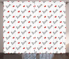 Diyagonal Aşk ve Kalp Desenli Fon Perde Beyaz