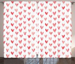Kırmızı Pembe Kalpler Fon Perde Trend Çeyizlik