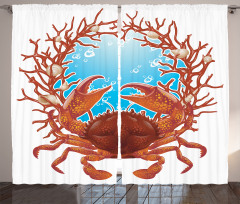 Yengeç ve Deniz Desenli Fon Perde Beyaz Arka Plan