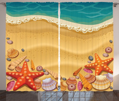 Kumsal ve Deniz Yıldızı Fon Perde Çocuk