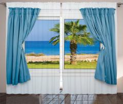 Pencere Deniz Manzaralı Fon Perde Beyaz Mavi