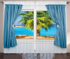 Pencere Deniz Palmiye Fon Perde Mavi