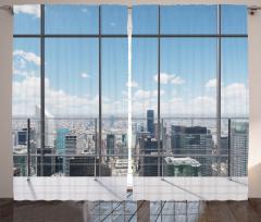 Pencere ve Gökdelen Fon Perde Modern Dizayn