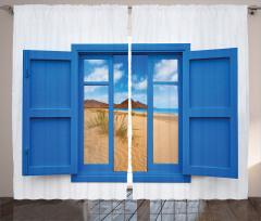 Pencerede Kumsal Deniz Fon Perde Mavi