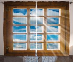 Pencere ve Gökyüzü Fon Perde Ahşap ve Mavi
