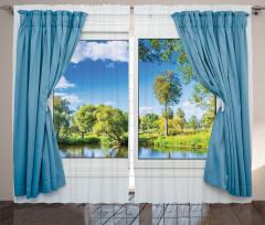 Pencere Göl Manzaralı Fon Perde Mavi Yeşil