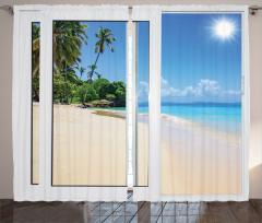 Kumsalda Güneşli Bir Gün Temalı Fon Perde Egzotik
