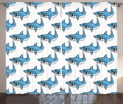 Kızgın Köpek Balığı Fon Perde Mavi Beyaz