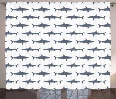 Mavi Köpek Balığı Fon Perde Beyaz Fonlu