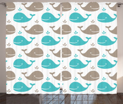 Mavi Gri Balina Desenli Fon Perde Beyaz Arka Plan