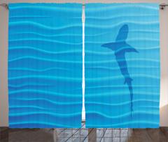 Köpek Balığı ve Dalgalar Desenli Fon Perde Mavi