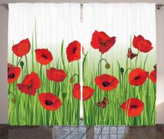 Gelincik Çiçeği ve Kelebek Desenli Fon Perde Şık