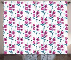 Pembe Çiçek Desenli Fon Perde Trend Şık Tasarım