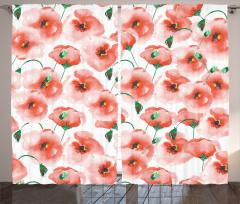 Gelincik Çiçeği Desenli Çeyizlik Fon Perde Pembe