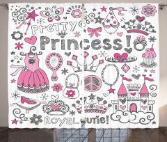 Masal Temalı Fon Perde Çocuk İçin Pembe Prenses