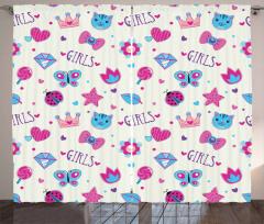 Kızlar İçin Fon Perde Pembe Mavi Kelebek Kedi