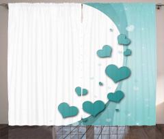 Turkuaz Kalp Desenli Fon Perde Romantik Çeyizlik