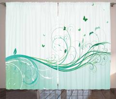 Yeşil Kelebek Desenli Fon Perde Çiçekli Çeyizlik